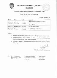 dec exam time table for diploma law oriental university dec 2017 exam time table for diploma law