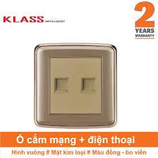 Ổ cắm mạng + ổ cắm điện thoại, hình vuông, màu đồng, KLASS 86KV1-024