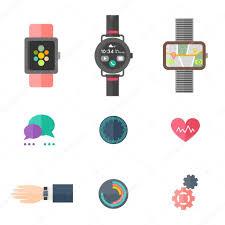 Smartwatch App Design Smart Watch Flat Vector Set Smartwatch App Design Stock