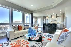 gray and orange living room unique rug area transitional with blue grey ideas