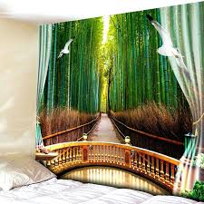 forest wall tapestry bedroom decor bamboo forest print wall tapestry green inch inch magical forest wall