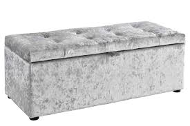 ottoman storage chest bedroom blanket box silver crushed fabric