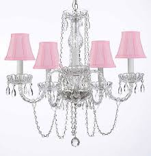 murano venetian style all crystal chandelier with pink shades h25