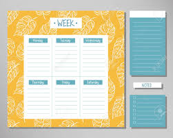 Design Schedule Template Weekly Planner With Yellow Leaf Elements Schedule Design Template