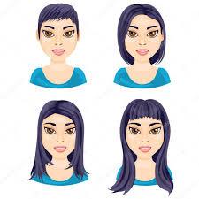 白い背景の女性のストレートの髪の長さの単位 ストックベクター