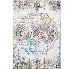 ivory multi color transitional area rug modern distressed faded medallion rug