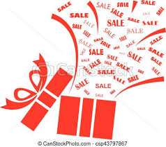 sale word opened red present box with sale word on white background clip art