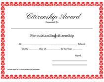 Printable Citizenship Awards School Certificates Templates