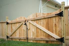 double fence gate. Cedar Scroll Top Double Drive Gate With Berkley Post Fence O