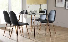 cozy furniture brooklyn. Brilliant Furniture Black Glass Dining Room Table Cozy Horizon With 4 Brooklyn Chairs Copper  Legs Regard To 15  Furniture S