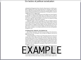 six factors of political socialization coursework help six factors of political socialization political socialization political socialization is the process by which political