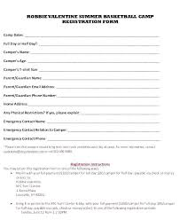 Resume Cover Leter Magnificent School Registration Form Template Word Basketball Class Emergency