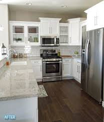 Kitchen White Cabinets Dark Hardwood Floors Whitegray Kitchen Color
