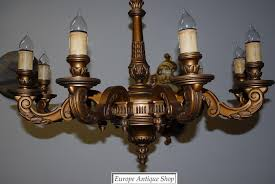 a huge french antique carved wood gilded 9 light chandelier from antique wood chandelier