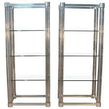 amazing pair of lucite and chrome glass shelf etageres for