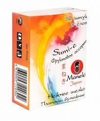 <b>Платочки бумажные Maneki Sumi-e</b> 3 слоя, 10 шт. в пачке, с ...