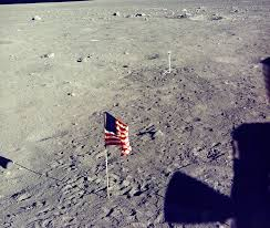 Image result for american flag on the moon in the solar wind nasa