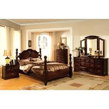 Four Post Bedroom Set Furniture Of Traditional 4 Piece Glossy Dark Pine Poster  Bedroom Set Ashley