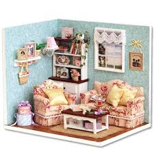 miniature doll furniture. Miniature Dollhouse Furniture Kits Wooden Living Room Model Kit Doll House With Cover