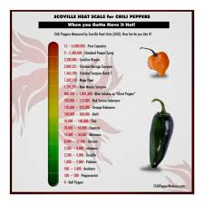 Chilli Hotness Chart Scoville Heat Scale For Chili Peppers Poster