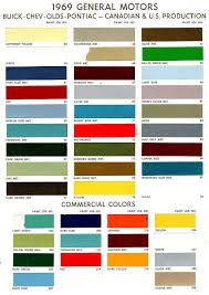 Chevy Stock Chart 1969 Gm Chev Pontiac Buik Colours Chevy Trucks Chevy