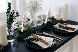 Christmas Table Setting Christmas Table Setting With Golden Elements And Evergreens