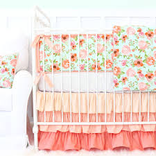 Mint and coral Iphone Coral Peach And Mint Floral Boho Inspired Baby Bedding Caden Lane Hadlees Mint Coral Floral Ruffle Baby Bedding Caden Lane