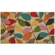 Nonslip Vintage Leaf Print Coir Doormat