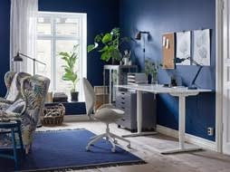 ikea office inspiration. Fine Inspiration A Blue And White Home Office With The Ergonomic HATTEFJLL Swivel Chair In  Beige Sit In Ikea Office Inspiration F