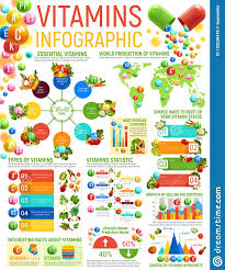 Vitamins A To Z Chart Vitamin Infographics Healthy Nutrition Charts Stock Vector