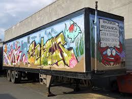 nyc fish tank aquarium tractor trailer truck graffiti commissioned job in spray paint