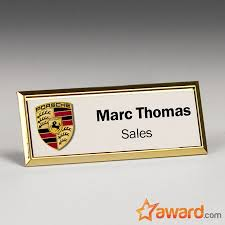 Full Color Metal Name Badge With Gold Frame 3 X 1 Inch