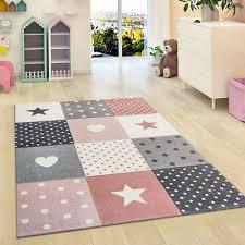 kids rugs pink grey star rug thick girls bedroom carpet new children nursery mat