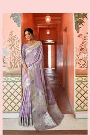 Light Purple Color Saree Printed Designer Silk Saree Collection In Light Purple Color