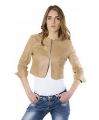 miss brown color lamb leather round neck short jacket