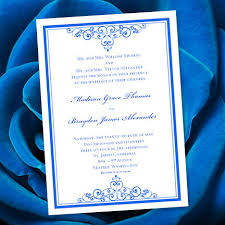 Online Invitations Templates Printable Free Simple Royal Blue Wedding Invitation Template Editable Microsoft Etsy