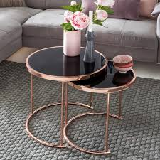 Finebuy Design Couchtisch Deco Glas Kupfer Tisch 2er Real