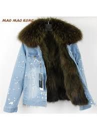 real rac fur denim jacket 2018 new fashion women real rac fur lined parka warm fur