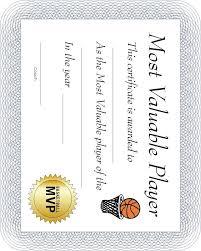 Free Printable Sports Certificate Basketball Mvp