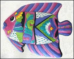 hand painted metal tropical fish wall hanging outdoor decor tropical design garden art