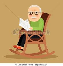 rocking chair drawing. Old Man Sitting In Rocking Chair And Newspaper - Csp32912994 Drawing G