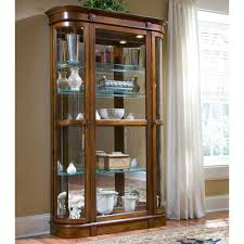classic home furniture decoration feat polished wooden framed glass display cabinet with lights using