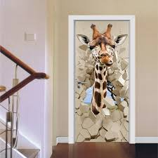bedroom door decoration. Creative 3D Giraffe Design Door Films Living Room Bedroom Renovate Self-Adhesive Waterproof Decoration D