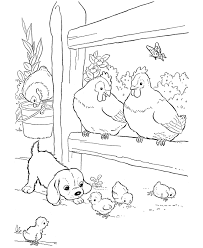 Small Picture Farm animal chicken coloring page Baby chicks and a puppy