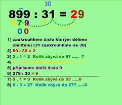 Image result for písemné dělení dvojciferným číslem