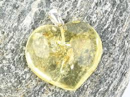 yellow heart pendant amber ag grip 5 7g
