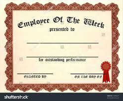 Employee Week Certificate Fill Blanks Stock Illustration Royalty