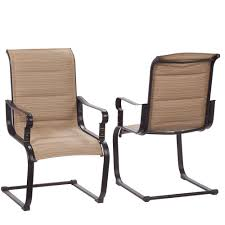 hampton bay belleville rocking padded sling outdoor dining chairs