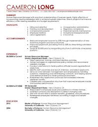 Resume Template Sample Hr Manager Resume Free Career Resume Template