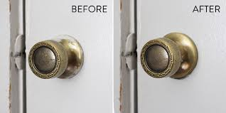 before after using steel wool to remove paint from door hardware